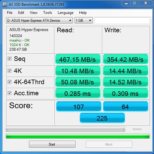 Asus hyper express ssd as ssd 1