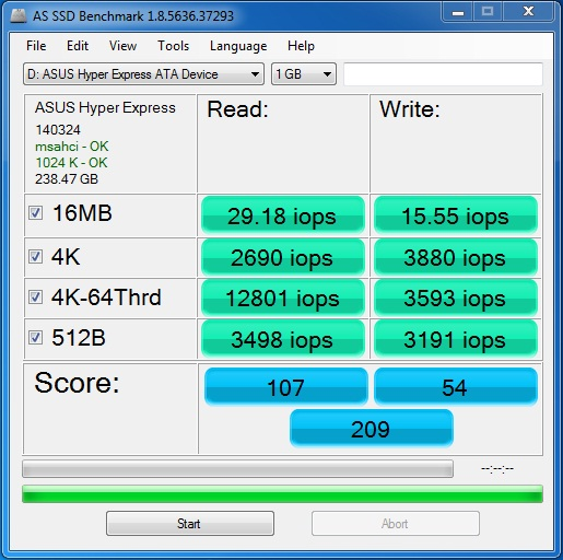 Asus hyper express ssd as ssd 2