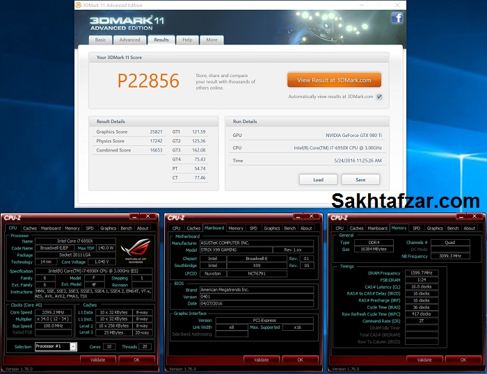 asus rog strix x99 gaming 3dmark 11 overall