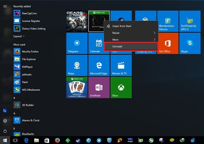 Remove the Uninstall Option from the Windows 10 Start Menu (1)