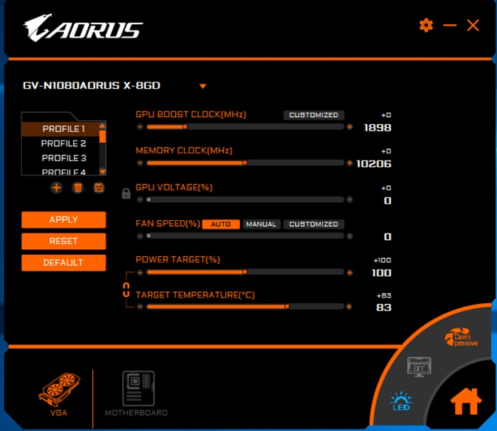 aorus engine 5 oc setting
