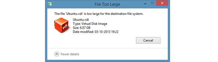 رفع خطای The File is Too Large for the Destination File System در سیستم‌عامل ویندوز
