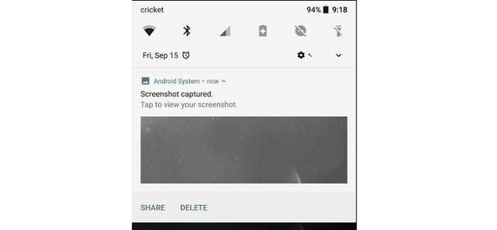 ذخیرهسازی اسکرینشات در گوشی موبایل و تبلتهای آندرویدی (ثابت در بسیاری از دستگاهها)