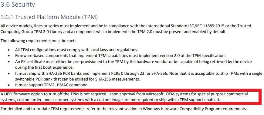 برخی از نسخههای ویندوز 11 بدون الزام به پشتیبانی از TPM 2.0 عرضه خواهند شد